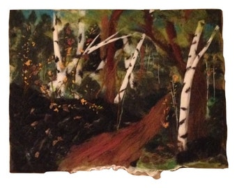 "Trail Through Birch Nuno Wet and Needle Felted Picture Painting, 24"" x 18"", OOAK"