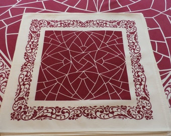 """Pretty 1950s Vintage Mastercraft Wine and White Floral and Geometric Design Tablecloth 6 Napkins 64 1/2"""" x 52 1/2"""""""