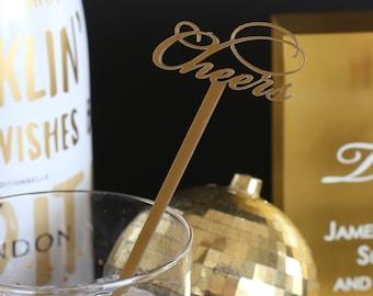 Acrylic Drink Stirrer - Laser Cut Cheers (script)