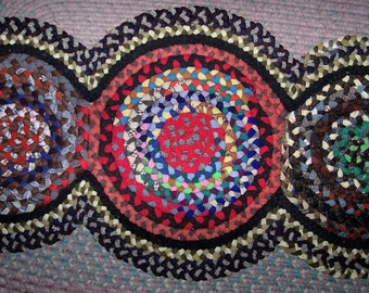 "Vintage Antique Hand Handmade Folk Art 3 Circle Braided Rug 25"" X 54"" Ready to be shipped"