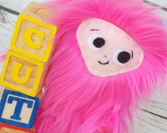Yeti Doll ~ Pink Yeti Art Doll Soft Sculpture