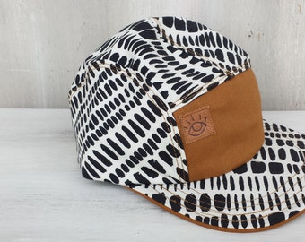 Black and White Random Dashes Geometric Print 5 Panel Camp Hat/ Baseball Hat