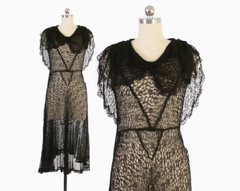 Vintage 20s 30s LACE DRESS / 1920s Sheer Black Lace Capelet Dress Xs - S