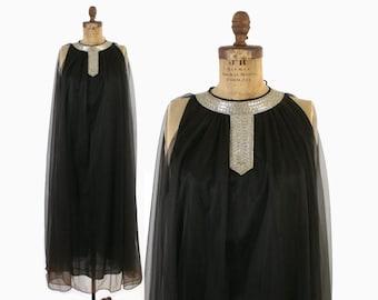 Vintage 60s Beaded Nightgown / 1960s Sheer Black Chiffon Full Length Nightie