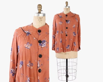 Vintage 40s MATERNITY TOP / 1940s Novelty CIRCUS Print Loose Fit Smock Top Blouse