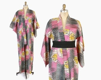 Vintage 40s Silk KIMONO / 1940s Water Color Angular Floral Long Robe Duster