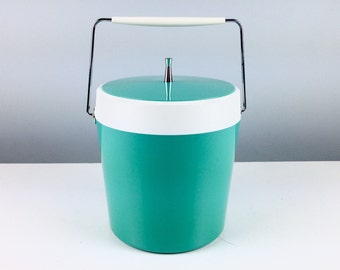 Mid Century Mod 1950s Turquoise Ice Bucket, Excellent Condition, Mid Century Barware