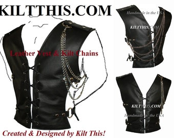 Interchangeable Black Leather Vest Lace Up Front Adjustable Custom