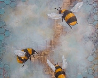 Bees Art Print MOUNTED to wood panel, Titled Bees 3, Limited edition, art ready to hang