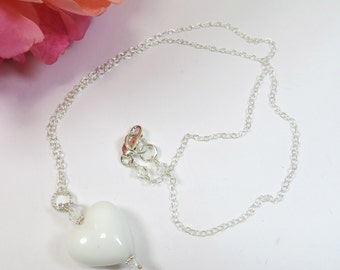 Venetian Murano Glass Necklace, Opaque White Heart Necklace with Swarovski crystal & 925 Sterling Silver Chain, White Murano Heart Necklace