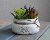 Mason jar succulent planter in white, distressed mason jar with artificial succulents, decorative succulent planter, air plant decor