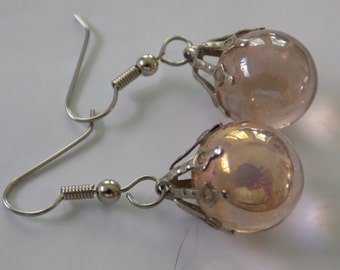 Vintage earrings, luminescent crystal ball drop earrings with unique findings