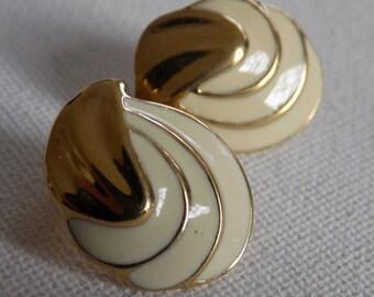 Vintage earrings,signed Vendome creamy white enamel and gold plate stud earrings,HA Vendome mark