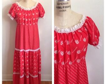 Vintage 1970s red hippie prairie boho maxi dress