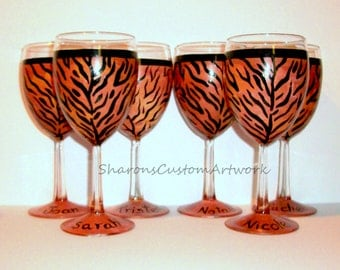 Tiger Cheetah Leopard Zebra Giraffe Print Wine Glasses for Bridal Party -  Set of 6 -10 oz. Wine Glasses Personalized With Names Bridesmaid