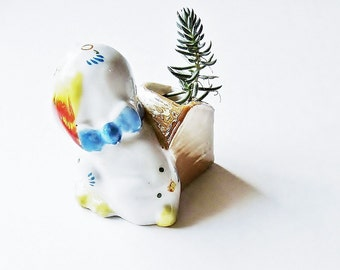Dog And Doghouse Toothpick Holder - Vintage Figurine-  Kitsch Dime Store Collectible - 1950s 1960s Home Decor - Made In Japan