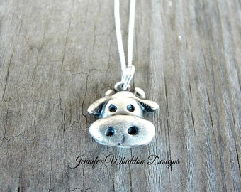 Cow Necklace - Cow Jewelry - Animal Necklace - Sterling Silver Necklace