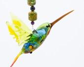 Handmade Hanging Green Headeded Hummingbird Suncatcher, Great Art Glass Gift and Suncatcher