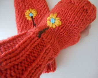 retro knit fingerless gloves orange gloves knit handwarmers knit mitts embroidery fingerless gloves flower handwarmers texting gloves