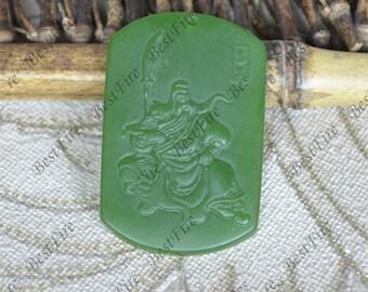 Green Jade Pendant Charm Duke Guan pendant Bead,Carving Green Jade Pendant Beads,gemstone pendant,Carved leaf Jade Pendant