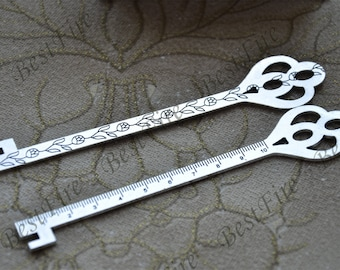 2 pcs of  Antique silver tone key ruler metal Bookmark , Antique silver Tone metal Bookmark