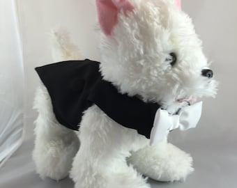 Little Black Wedding Tux, custom tux, ringbearer dog, dog wedding vest, fancy tuxedo for dogs, custom dog tuxedo, designer