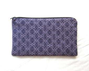 Mod Purple Fabric  Zipper Pouch / Pencil Case / Make Up Bag / Gadget Pouch