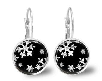 Christmas Earrings Christmas Jewelry Holiday Jewelry Glass Tile Earrings Snowflake Earrings Holiday Earrings Beaded Jewelry