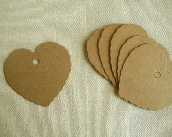 Brown KRAFT TAGS 50 HEART with hole for string, Fluted, scalloped edges, Wedding favors, Shower name tags,  Shop, Cottage, Paper, Gift tags