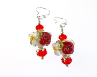 Red White Lampwork Earrings, Flower Christmas Earrings, Glass Bead Earrings, Glass Bead Jewelry, Dangle Drop Earrings, Lampwork Jewelry