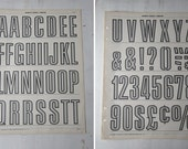 "Pair Vintage Typography Posters - Nursery Art -  Gray Alphabet and Numeral  16"" x 22"" (Pgs  1 & 2)"