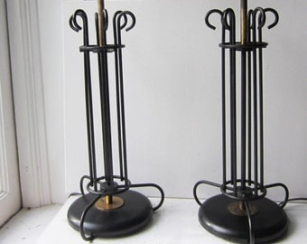 "ON SALE Pair Tall Vintage Black Wrought Iron Metal & Brass Lamps - Mid Century - Working - 22"" Tall"
