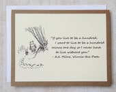 Live To Be A Hundred - Winnie the Pooh Quote - Classic Piglet and Pooh Note Card Cream On Kraft Brown