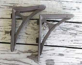"Industrial Shelf Brackets Two 1980s Cast Iron Stamped ""EWAR4"""