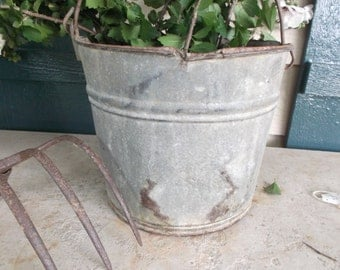 Farmhouse Bucket #10 Galvanized Metal Pail Rusty Bucket