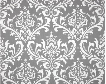 Gray and White Ozborne Damask Custom Shower Curtain