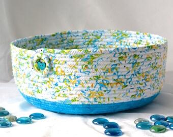 Blue Decorative Basket, Handmade Cat Bed, Lovely Fiber Basket, Book Bin Holder, Storage Basket, Gift Basket, Dog Bed, Pet Bowl, Cat Bowl