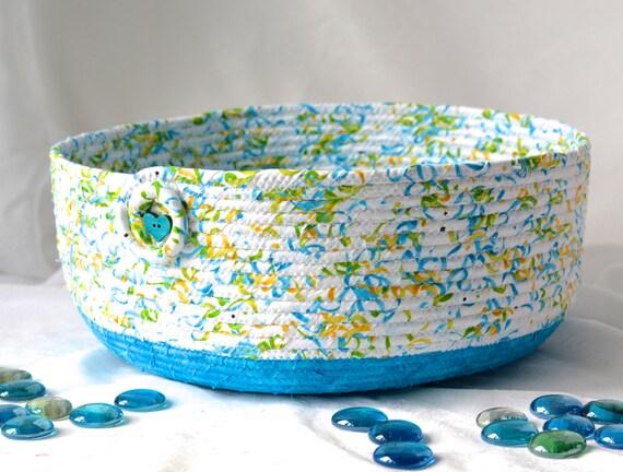 Blue Gift Basket, Handmade Cat Bed Furniture, Lovely Fiber Basket, Book Bin Holder, Storage Basket, Dog Bed, Pet Bowl, Cat Toy Bin
