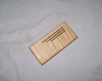 Pill box Tooth Fairy box or Whimsy box Guitar Pick Box . Fiddle Back Maple and Walnut 3