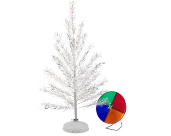 4 Foot Aluminum Tree with Color Wheel Light and Revolving Tree Stand - Complete and Working