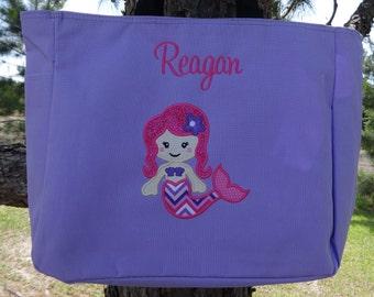 Personalized Girls  BEACH Bag  Pool Tote Tote Bag MERMAID Beach Bag