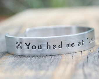 Bracelet You Had Me At Let's Go Junkin' Picker Vintage Hand Stamped Jewelry Cuff Sturdy 12 Gauge Aluminum Junking Salvage Shows