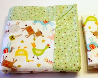 Double Flannel Baby Blanket with Farm Animals and Green Backing with FREE Burp Cloth - Receiving Blanket, Boy Blanket, Flannel Blanket