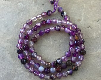 Purple Agate Beads, Round, 4mm, Faceted, 14 inch strand