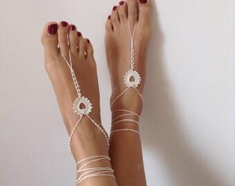 ivory, Barefoot Sandals, bead, barefoot sandles, wedding, Bikini, Bridal Sandals, Bridal Jewelry, shoes Women, Beach, READY TO SHIP