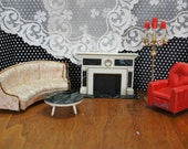 Vintage Petite Princess Dollhouse Furniture 5 Living Room Pieces, fireplace, sofa, easy chair