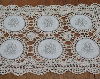 Doily Table Topper Off-White Cotton, beige, ecru