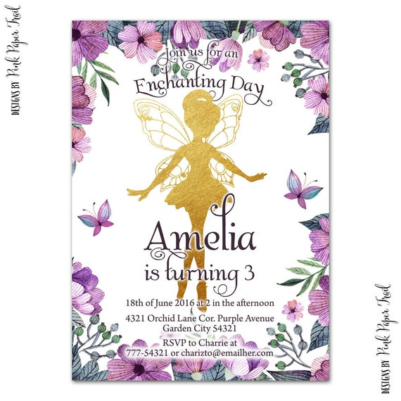 Flower Fairy Invitation, Woodland Fairy, Enchanted Forest, Fairy Princess, Print Your Own Invitation