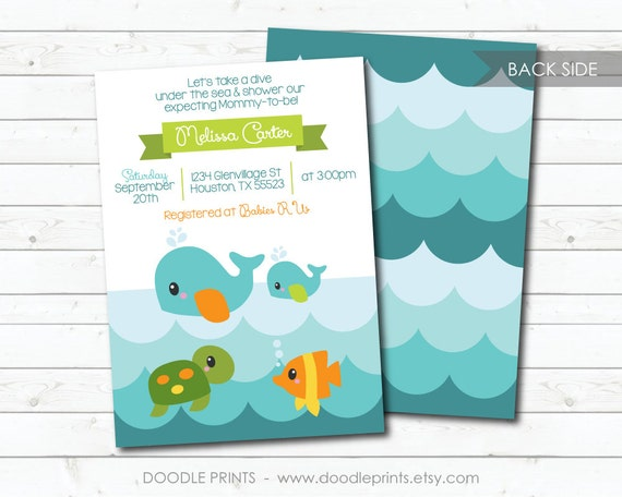 Ocean invitation printable baby shower invitation ocean sea il570xn filmwisefo