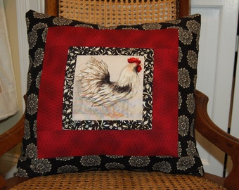 Rooster Pillow, Folk Art Decor, Country Pillow